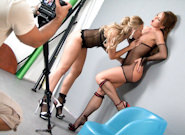 BTS-Silvia and Michelle Fishnet Frolic