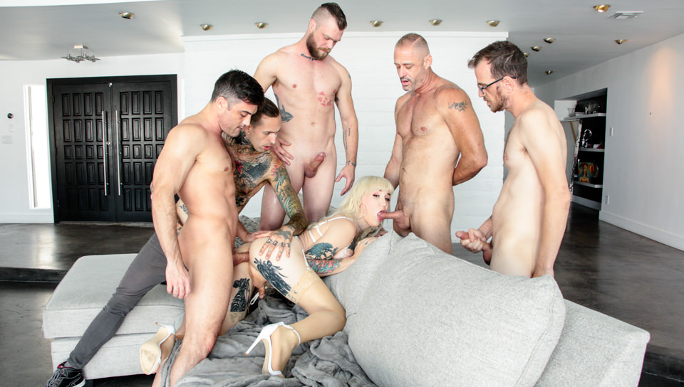 TS Lena's 5-On-1 Double-Anal Gangbang! – Chad Diamond, Ruckus