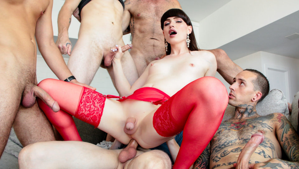 TS Natalie's Wet Double-Anal Gangbang!